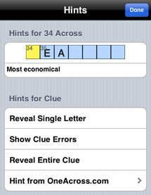 Crossword puzzle hint options